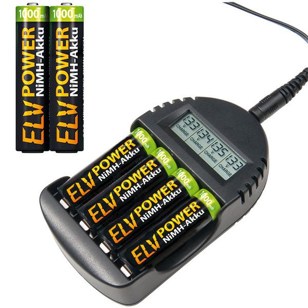 ELV Akku-Ladegerät BC-250 inkl. 2er-Pack ELV Power NiMH-Akku Micro, 1000 mAh