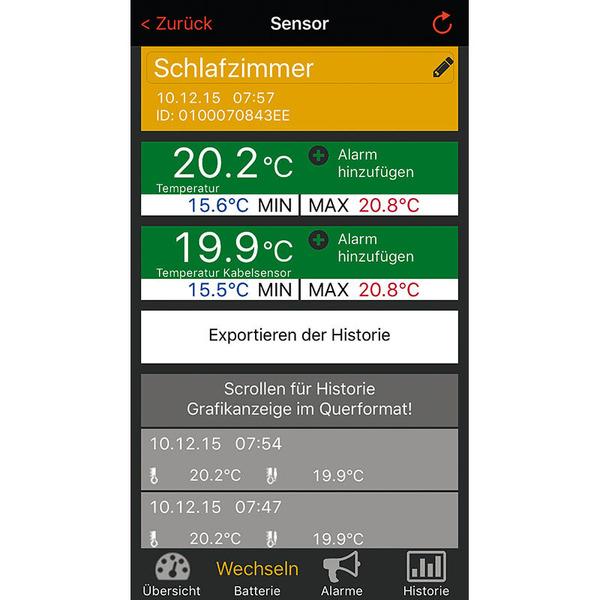 ELV Mobile Alerts Temperatursensor MA10120PRO, mit zusätzlichem Kabelsensor