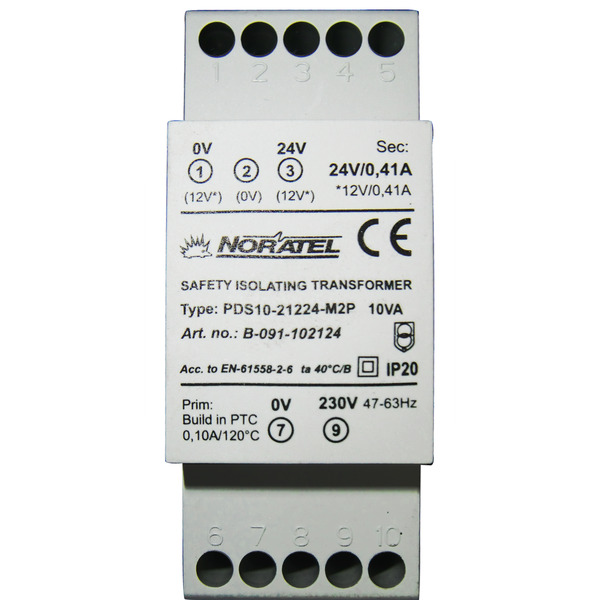 Noratel Hutschienentransformator PDS10-21224-M2P, 2 x 12 VAC, 0,41 A