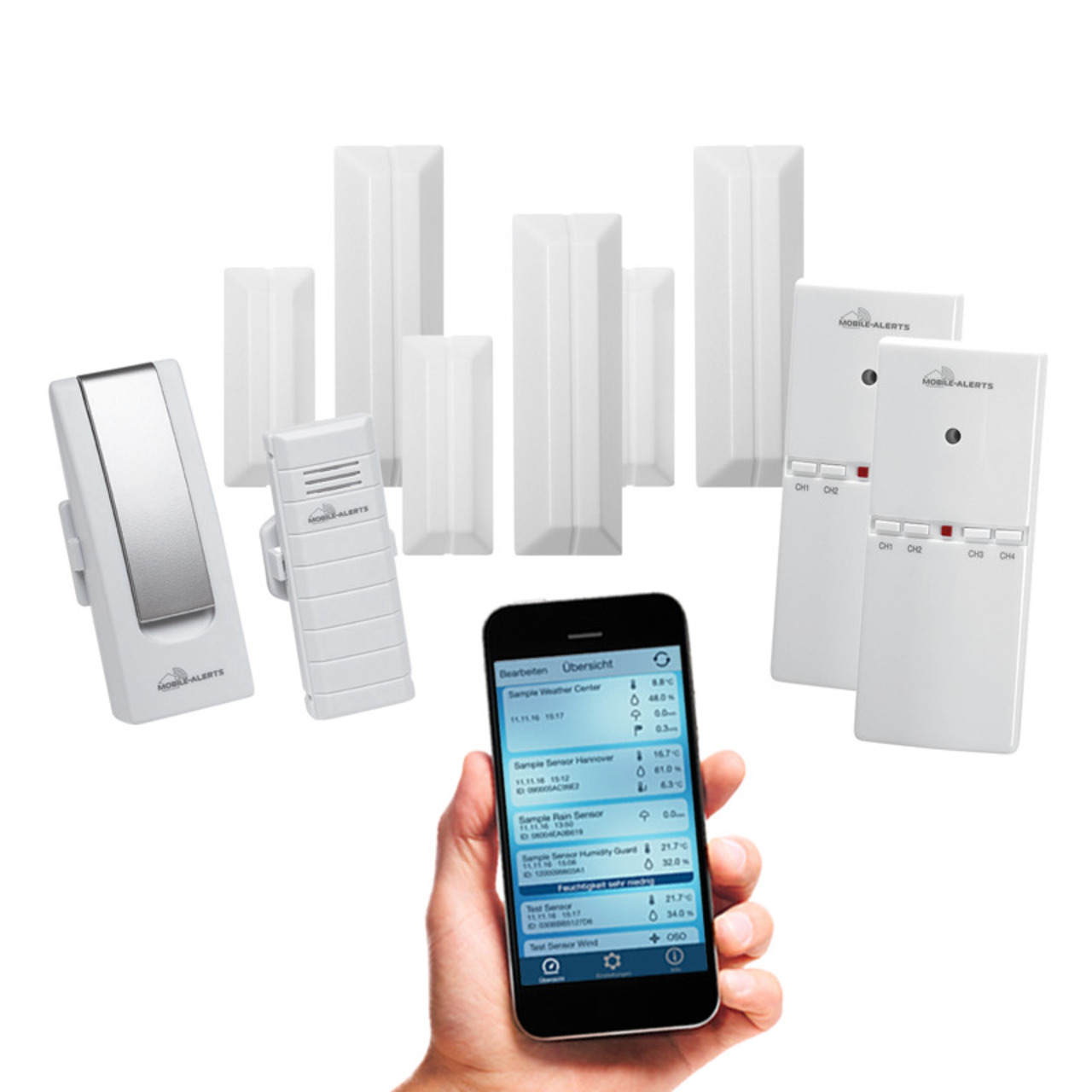 ELV Mobile Alerts Sicherheits-Set 1x Gateway- 1x Temperatursensor- 3x Fensterkontakt- 2x Alarmgeber