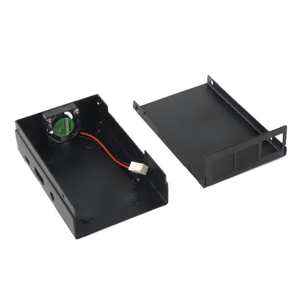 ELV Metallgehäuse für Raspberry Pi Typ B+, 2B und 3, inkl Lüfter, schwarz