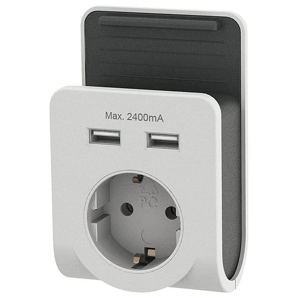 EverFlourish USB-Steckdosenadapter mit Smartphone-Halterung, 2x USB, 2,4 A