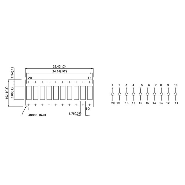 Kingbright Bargraph-Anzeige, DC-10SRWA, 10 Elemente, rot