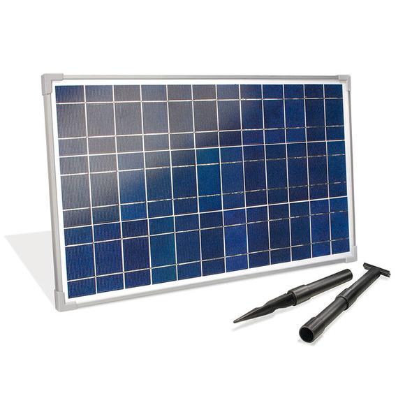 esotec Premium-Starterset Solar-Bachlaufsystem mit 12-Ah-Akkubox, 2x 25-Wp-Solarpanel, Y-Adapter