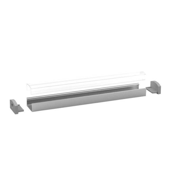 1-m-Aluminiumprofil P4-1 für LED-Streifen, mit matter Abdeckung, inkl. Endkappen