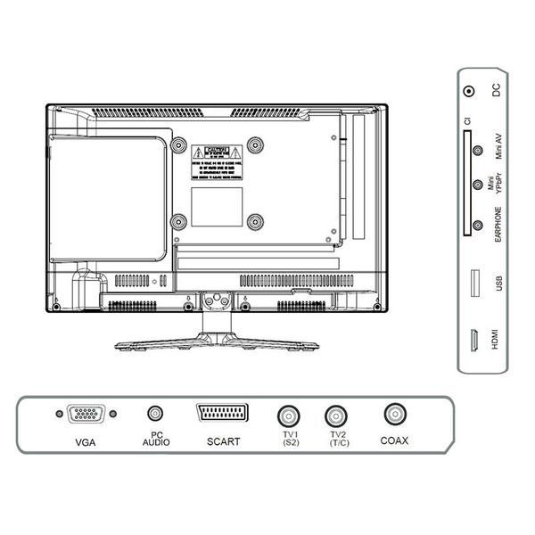 "Reflexion 5-in-1-LED-TV LDDW240, 60 cm (23,6""), DVD-Player, DVB-S/S2/C/T/T2, H.265/HEVC, 1080p"