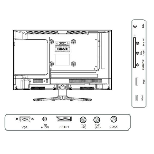 "Reflexion 5-in-1-LED-TV LDDW190, 47 cm (18,5""), DVD-Player, DVB-S/S2/C/T/T2, H.265/HEVC, 768p"