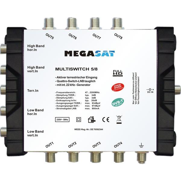 Megasat Multischalter 5/8, 1 Satellit, 8 Teilnehmer