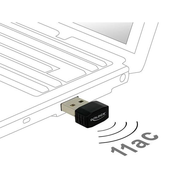Delock Nano-WLAN-USB-Stick Dualband 2,4/5 GHz, WLAN AC 433, USB 2.0