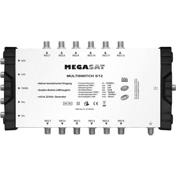 Megasat Multischalter 5/12, 1 Satellit, 12 Teilnehmer