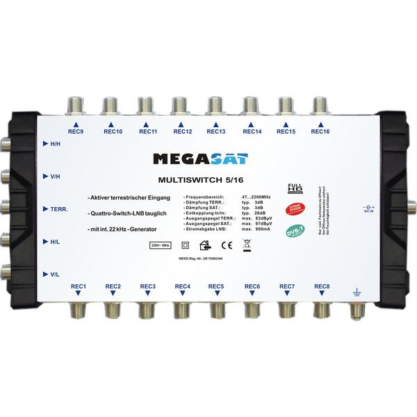 Megasat Multischalter 5/16, 1 Satellit, 16 Teilnehmer
