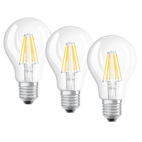 OSRAM 3er Set LED RETRO Glass Bulb 7,5-W-LED-Lampe E27, klar