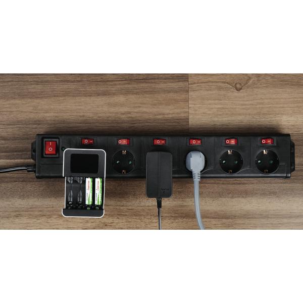 hama 6-fach-Steckdosenleiste XL, einzeln schaltbar, schwarz