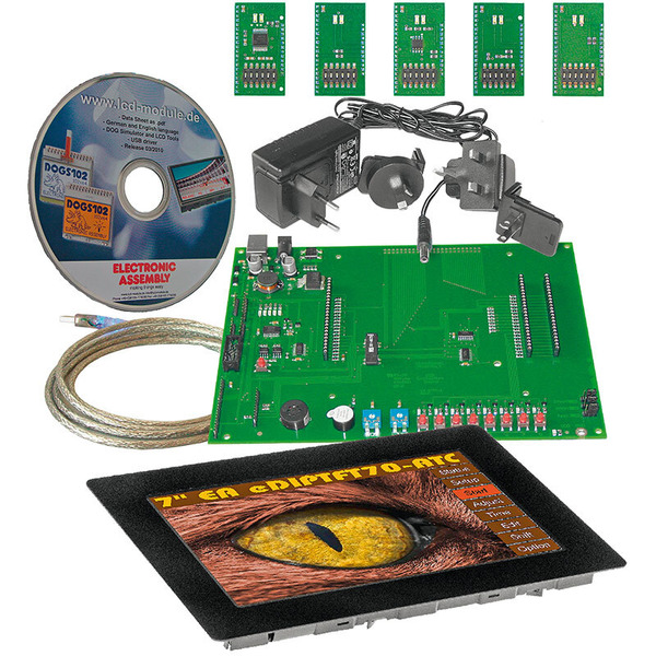 Electronic Assembly Starterkit mit Grafik-LCD EA EVALeDIPTFT70TC, 800 x 480 Pixel