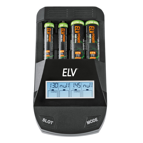 ELV 4-fach-Akkuladegerät ML1000 mit USB-Ladeausgang