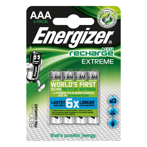 Energizer NiMH-Akku Extreme, Micro 800 mAh, vorgeladen 4er Pack