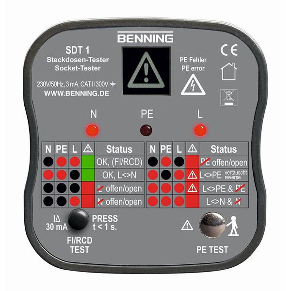 BENNING Steckdosentester SDT 1 für PE-Fehlererkennung