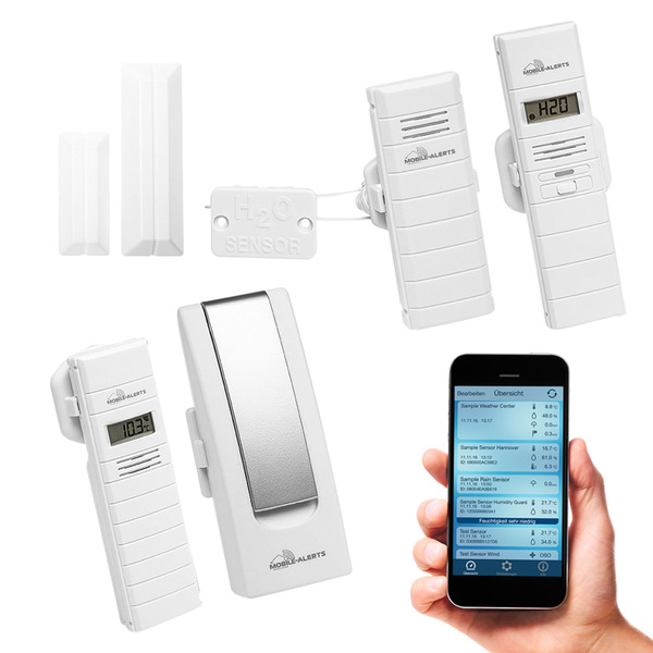 ELV Mobile Alerts Wetterset (Gateway, Temperatursensor, 2x Thermo-/Hygrosensor, Fensterkontakt)