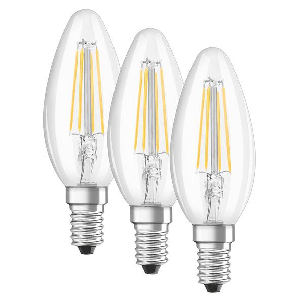 OSRAM LED PROMO 3er Set 4-W-Filament-LED-Kerzenlampe E14, warmweiß, klar