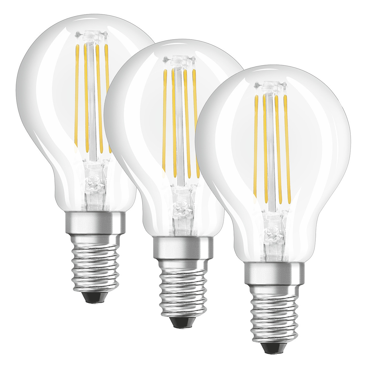 OSRAM LED PROMO 3er Set 4-W-Filament-LED-Tropfenlampe E14- warmweiss- klar