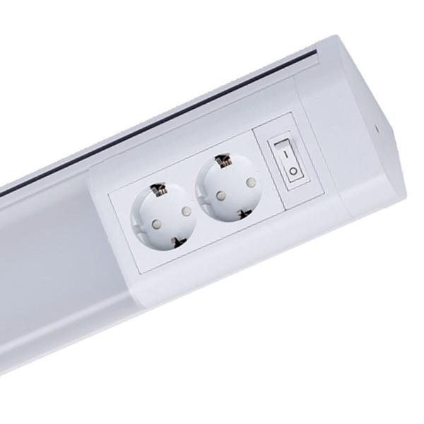 Müller Licht 15-W-LED-Unterbauleuchte mit 2 Schutzkontaktsteckdosen, neutralweiß