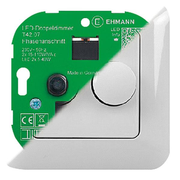 Ehmann LED-UP-Doppeldimmer inkl. Abdeckrahmen, Phasenanschnittdimmer