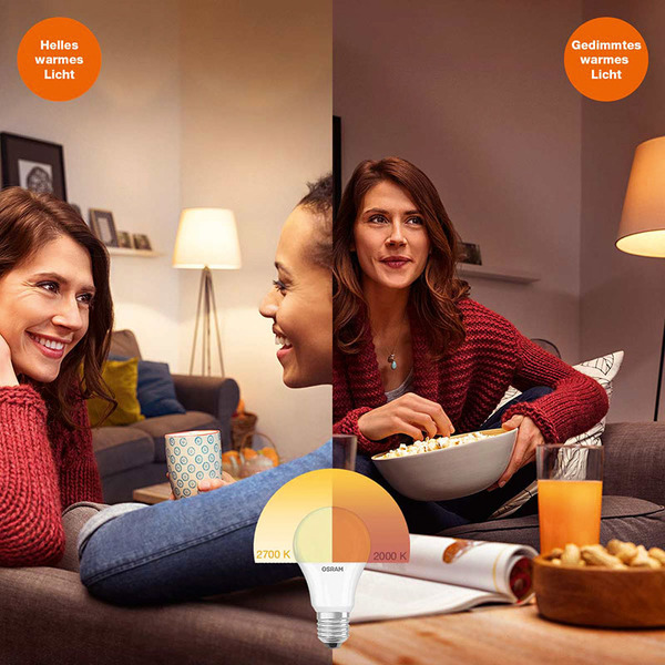 OSRAM LED STAR PLUS 7-W-Filament-LED-Lampe E27 mit GlowDim-Technologie, warmweiß