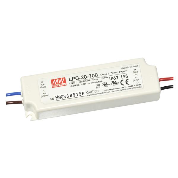 Mean Well LED-Schaltnetzteil LPC-20-700, 90-264VAC, 9-30VDC, 21W, IP67