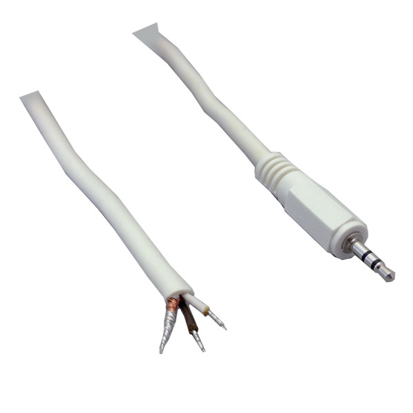 BKL Electronic Audio-Anschlusskabel, geschirmt, Klinkenstecker 2,5 mm stereo, gerade, 1,8 m, weiß