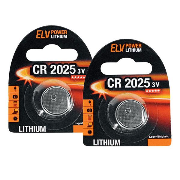 ELV Lithium-Knopfzelle CR2025, 2er Pack