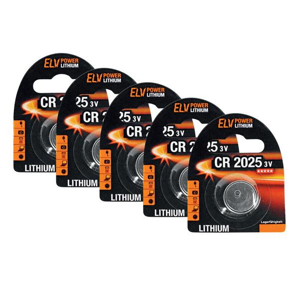 ELV Lithium-Knopfzelle CR2025, 5er Pack