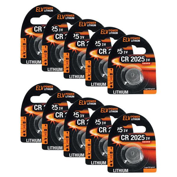 ELV Lithium-Knopfzelle CR2025, 10er Pack