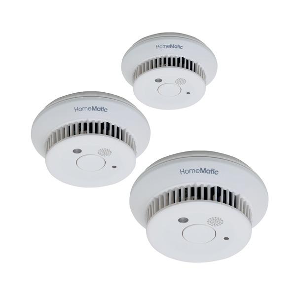 Homematic 3er-Spar-Set Funk-Rauchwarnmelder HM-Sec-SD-2 für Smart Home, 10-Jahres-Lithium-Batterie