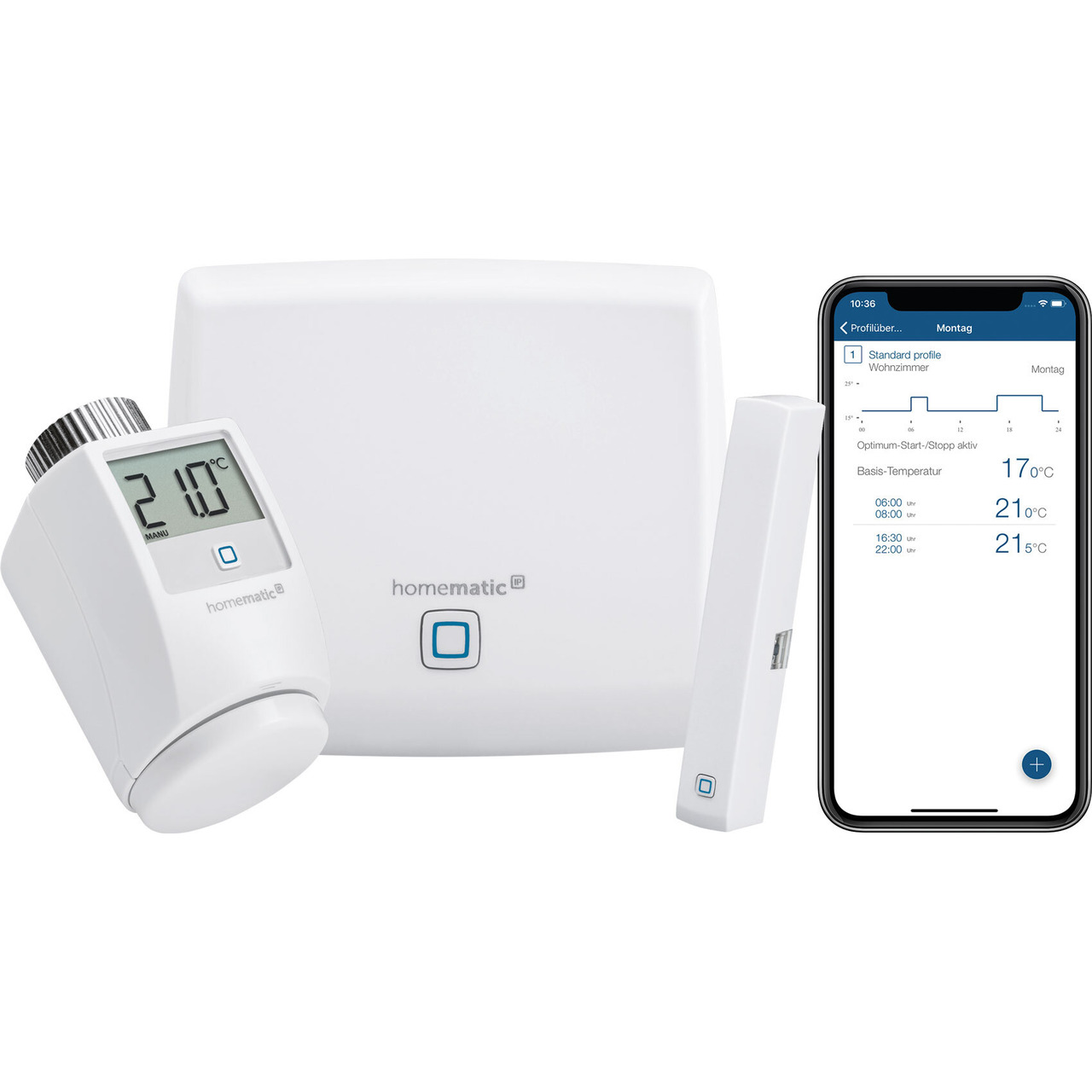 Homematic IP Starter Set Raumklima mit Access Point- Heizkörperthermostat und Fensterkontakt