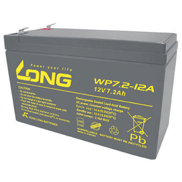 Kung Long Blei-AGM-Akku WP7.2-12A-F2, 12V, 7,2Ah nur für Standby, 6,3mm Kabelschuh