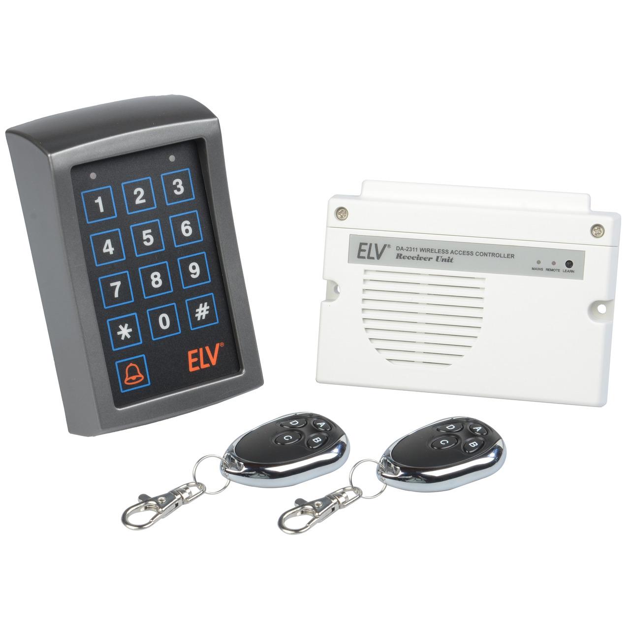 ELV Zugangskontrollsystem ZKS100 V2- mit Funk-Codeschloss- Empfangsgerät und 2 Funk-Fernbedienungen