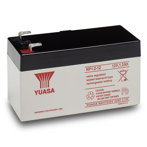 yuasa AGM Bleiakku NP1.2-12 mit VdS, Fastonkontakt 4,8mm, 12 V / 1,2 Ah