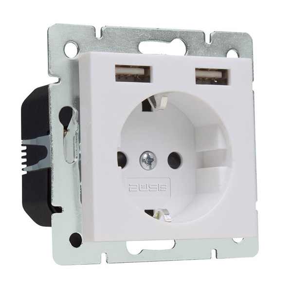 2USB Schutzkontakt-Steckdose mit 2 USB-Ports, reinweiß glänzend, 55 x 55 mm, VDE zertifiziert
