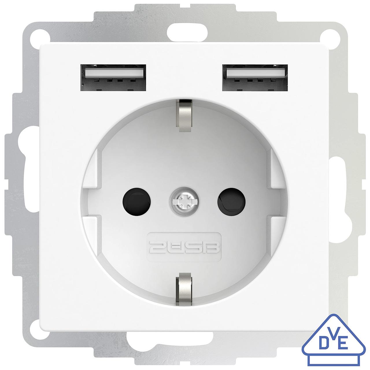 Image of 2USB Schutzkontakt-Steckdose mit 2 USB-Ports, reinweiß matt, 55 x 55 mm, VDE zertifiziert