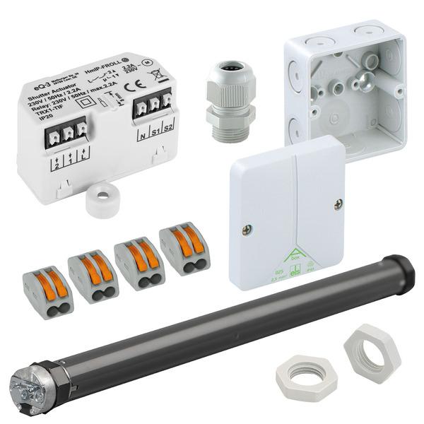 Beschattungsset für Homematic IP mit Unterputz-Rollladenaktor, elektronischer Rohrmotor SE Pro 1/10