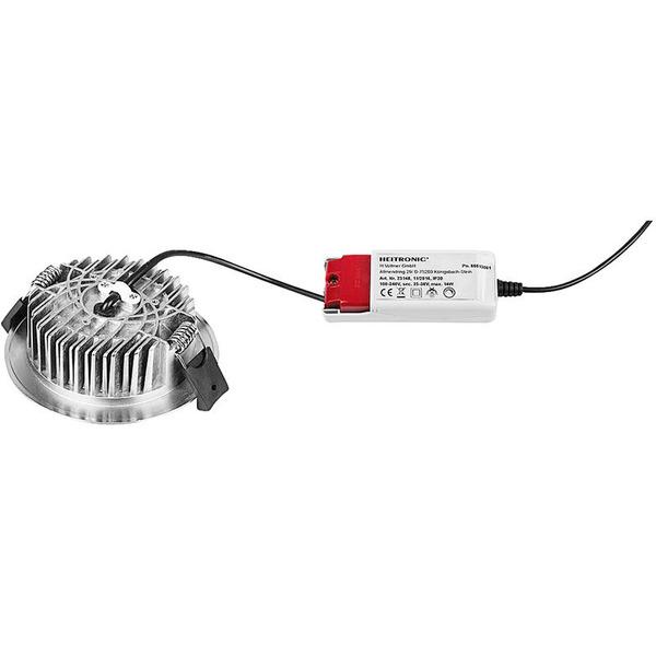 HEITRONIC 13-W-LED-Downlight LESCAR, rund, Farbtemperatur einstellbar, nickel gebürstet, IP54