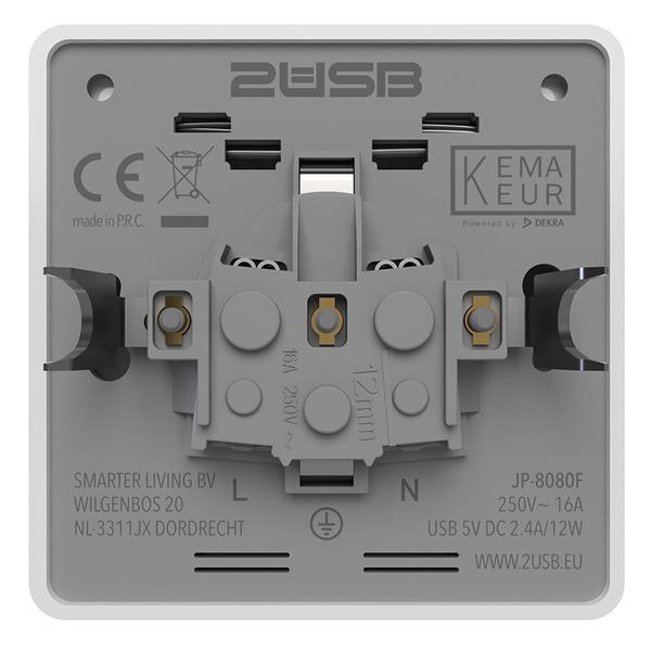 2USB Aufputz-Steckdose für Montage auf Schalterdosen, 16 A, mit 2 USB-Ports, max. 2,4 A Ladestrom