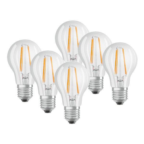 OSRAM 6er Set 7-W-Filament-LED-Lampe E27, warmweiß, klar