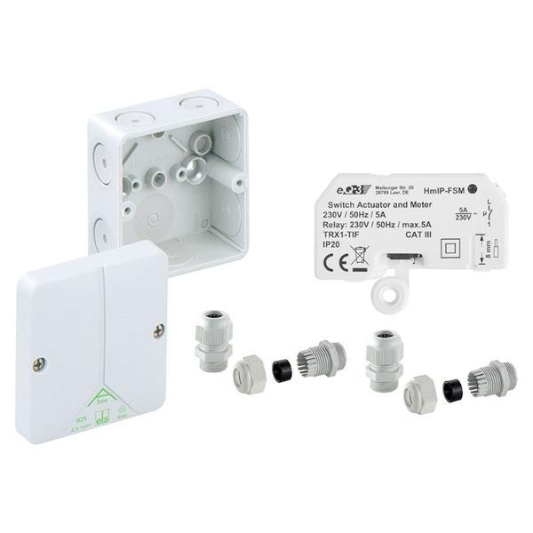Homematic IP Schalt-Mess-Aktor HmIP-FSM für den Außenbereich inkl. passender Verteilerdose ABOX