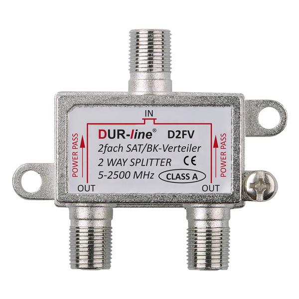 DUR-line 2-fach Sat-Verteiler D2FV, für Sat- und Multimedia-Anwendungen, Schirmungsmaß 100 dB