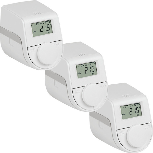 Eqiva Model Q Elektronischer Heizkörperthermostat mit Click-on-Adapter, 3er-Set