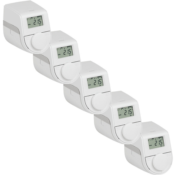 Eqiva Model Q Elektronischer Heizkörperthermostat mit Click-on-Adapter, 5er-Set