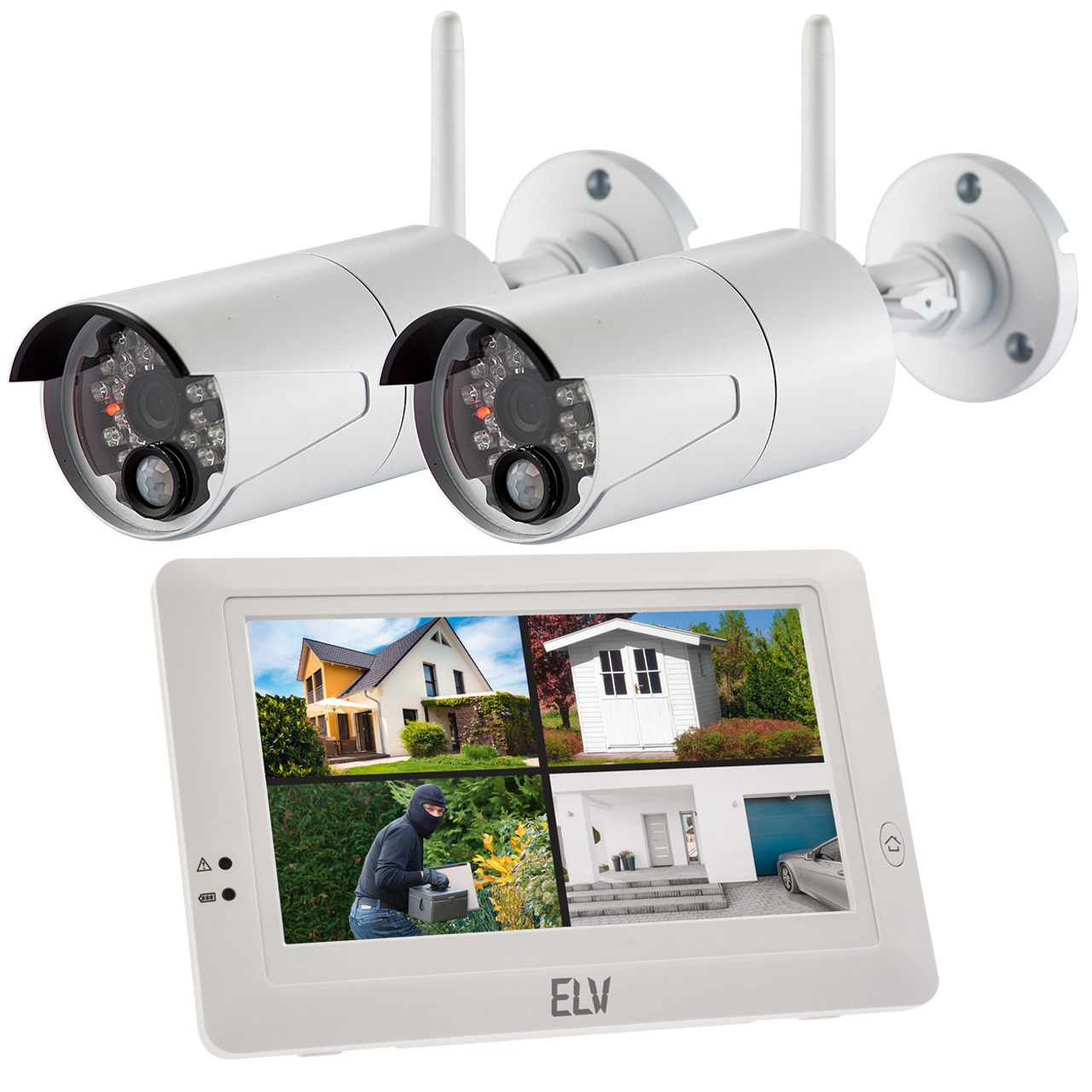 ELV Spar-Set Funk-Kamerasystem KS200 HD mit 2 Kameras- 720p- 2-4 GHz- mit App-Zugriff