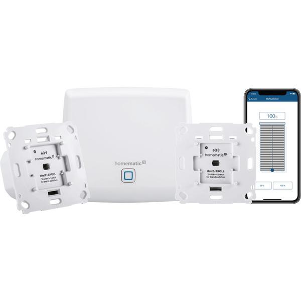 Homematic IP Starter Set Beschattung mit Access Point und 2 Rollladenaktoren für Markenschalter