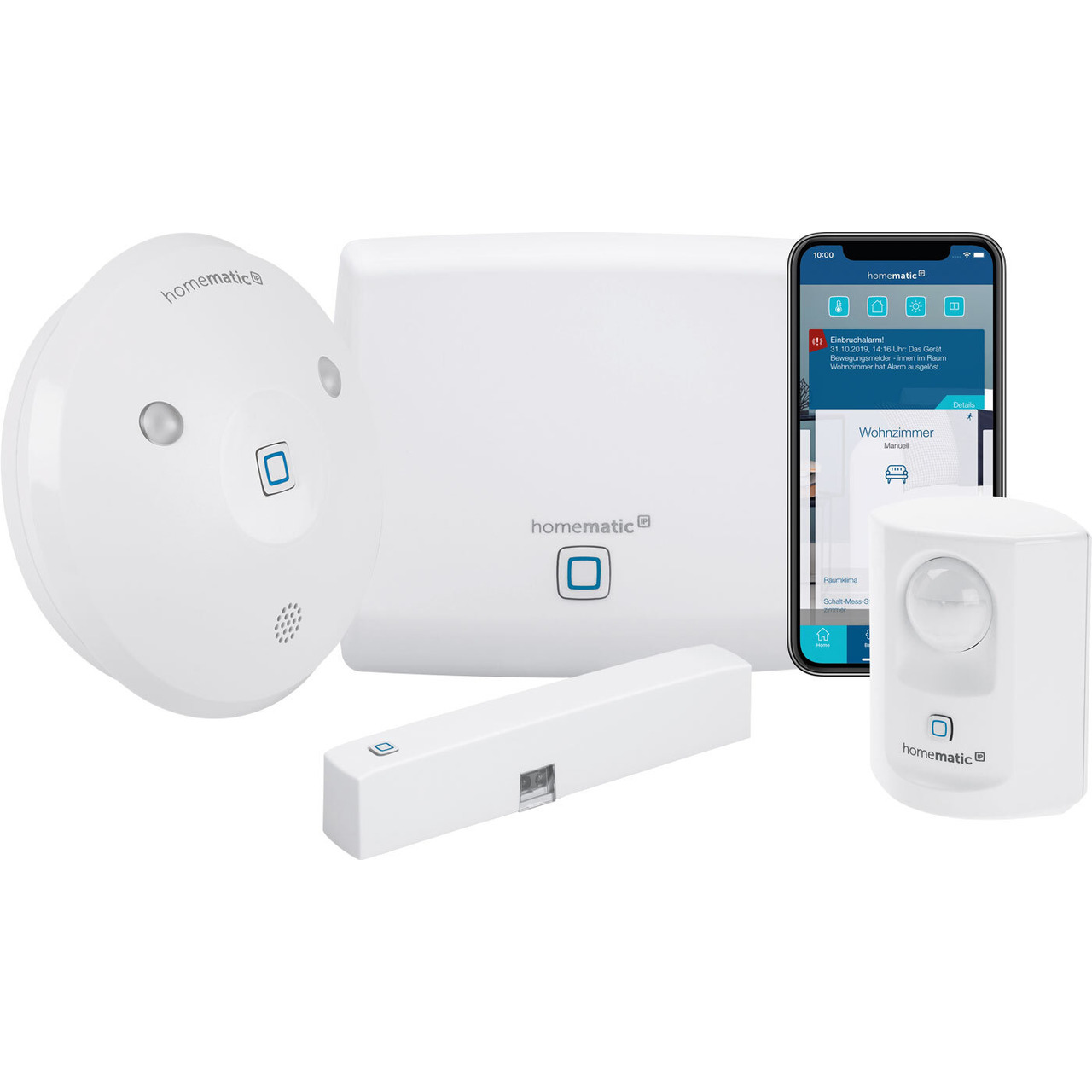 Homematic IP Starter Set Alarm mit Access Point- Alarmsirene- Tür-Fensterkontakt- Bewegungsmelder